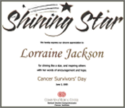 certificate for shining star