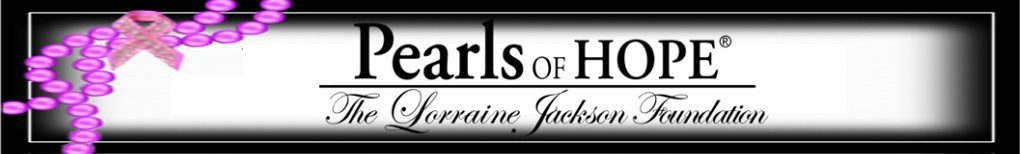 Pearls of Hope, the Lorraine Jackson Foundation logo, black border and pink pearls